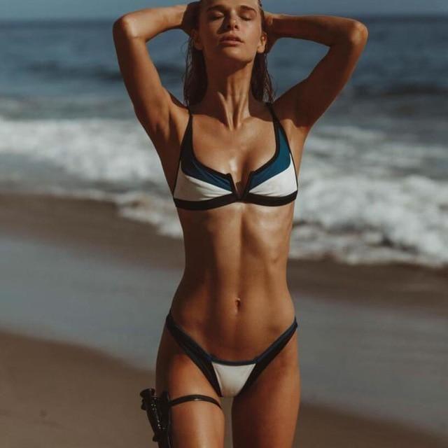 3ea8644a0df Bandage Bikinis V Neck Bikini Swimsuits Push Up Swimwear Female Brazilian  Bikini Set Bathing