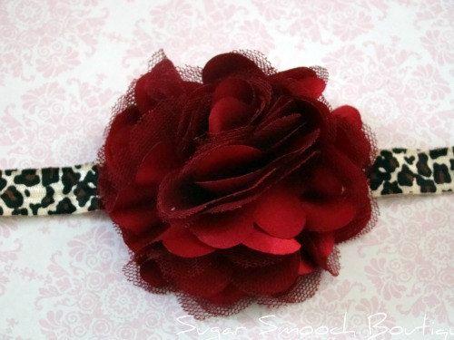 Dark Red Flower Puff W/ Leopard Print Soft Elastic by tiff705, $5.75