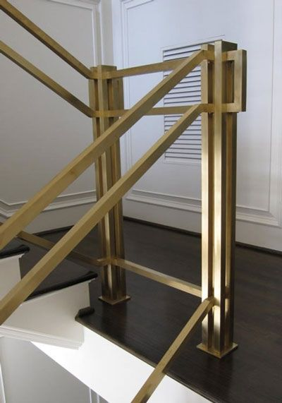 Beau Brushed Brass Railing Stairs