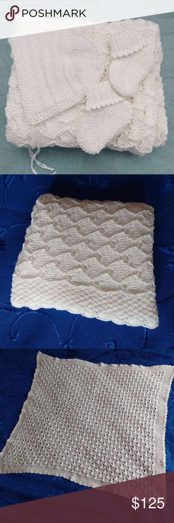 Hand Knitted 100 Pima Cotton White Baby Blanket Hand Knitting Knitted Baby Blanket Knitted