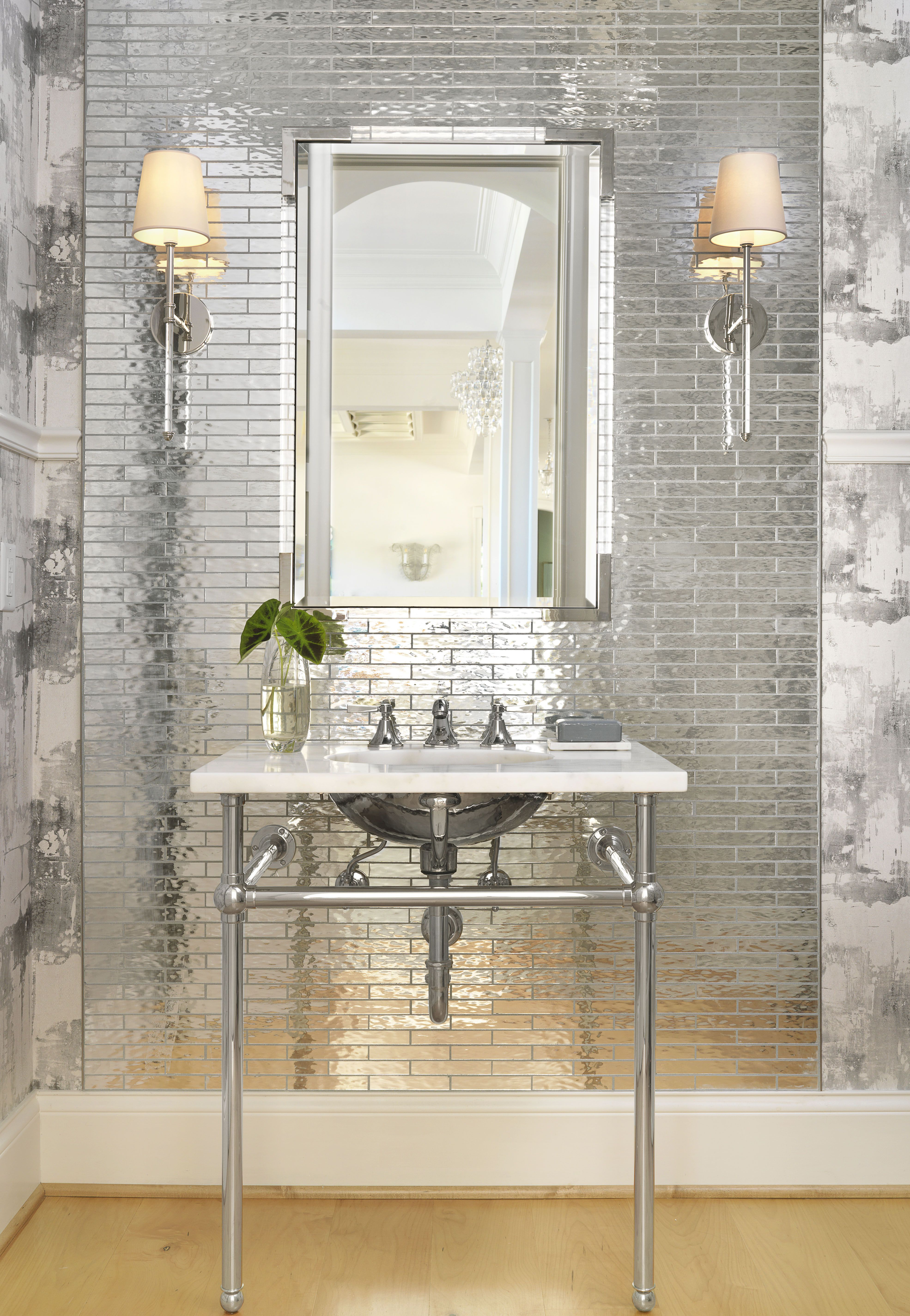 Powder Room - mirrored tile, silver wallpaper, polished nickel ...