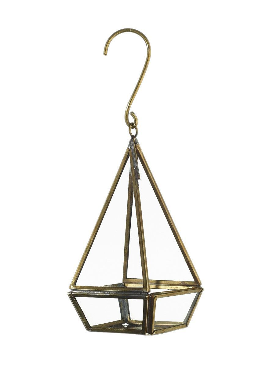 Small Metal And Glass Prism Hanging Candle Lantern In Gold 3 X 6 25 Hanging Candle Lanterns Geometric Candles Geometric Candle Holder