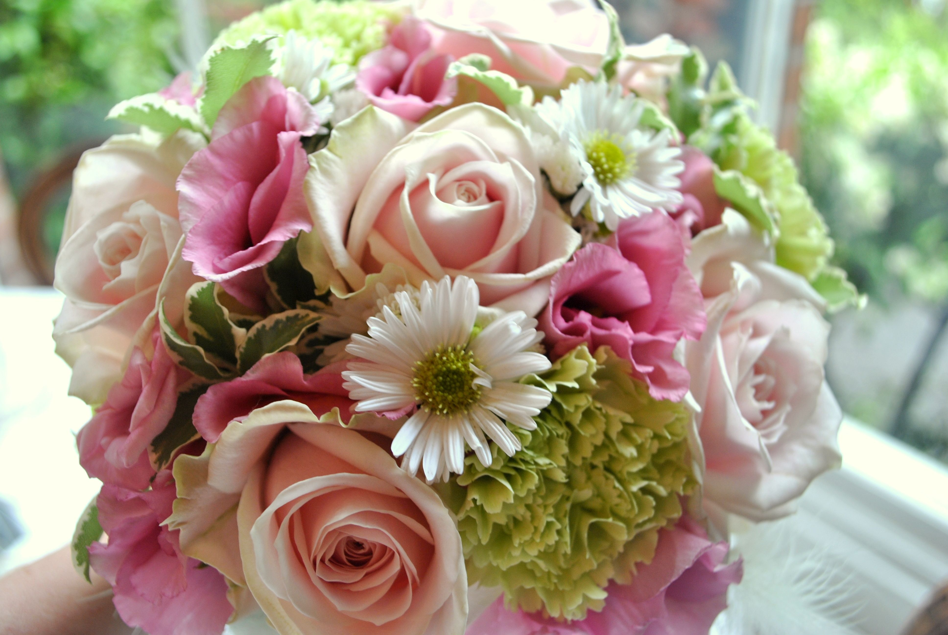 Rose And Carnation Aster Bouquet Pink And Green Wedding Flowers