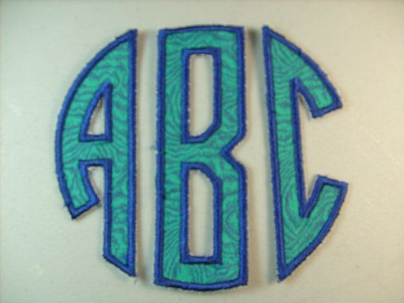 three letter monogram iron on or sew on applique by deeappliques 800