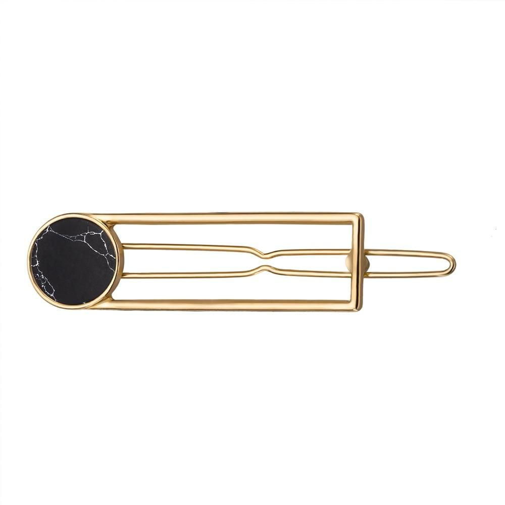 Fashion Women Girls Metal Circle Square Hair Clips Natural Stone Hairpins Barrettes Wedding Hair Clip Accessories Wedding Hair Clips Hair Clips Accessories