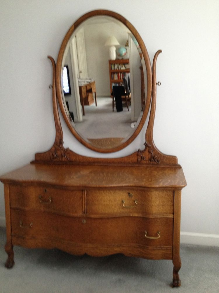 Antique Oak Chest And Dresser And Nightstand Ebay Leather