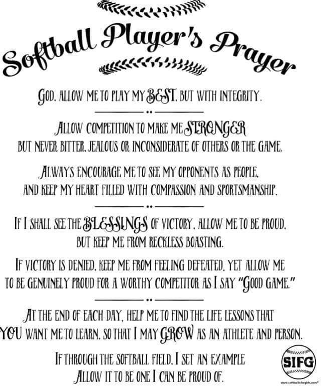 Motivational Quotes For Sports Teams: A Softball Players Prayer
