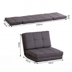 Homcom Single Sofa Bed Fold Out Guest Chair Foldable Futon Sleeper Couch Lounger Bedding Pillow Grey