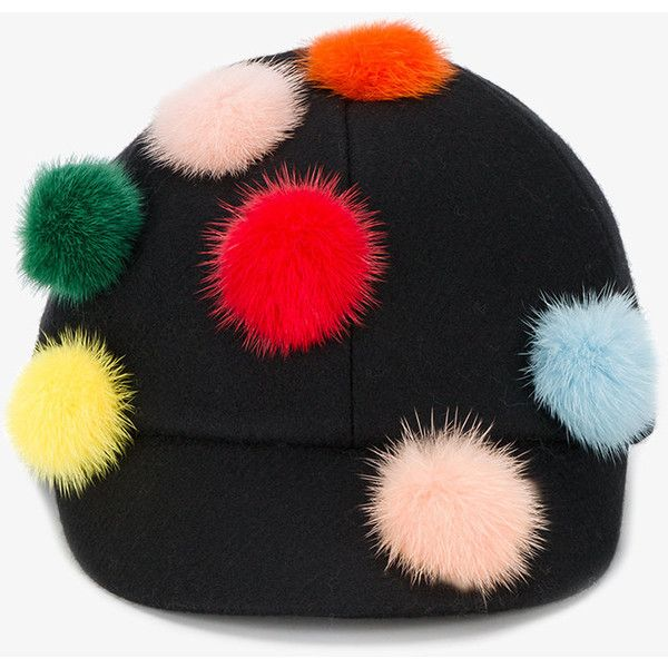 a93fcb53346 Fendi pom pom baseball cap (545 CHF) ❤ liked on Polyvore featuring  accessories
