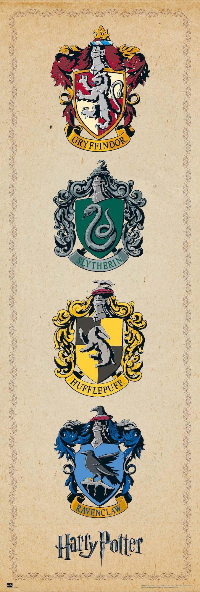 Harry Potter Langbahnposter 4 Hauserwappen Harry Potter Poster Harry Potter Zeichnungen Harry Potter Bildschirmhintergrund