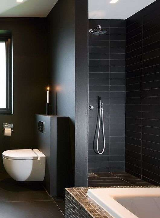 Bathroom Trends 2015 black tiles : like beige paint, white tiles are also going out of
