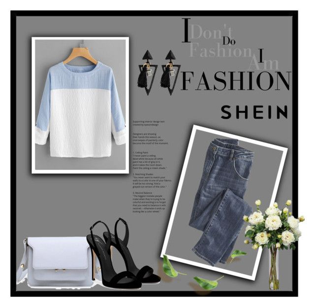 """""""Shein"""" by medinica-b ❤ liked on Polyvore featuring Wrap, Giuseppe Zanotti and Nearly Natural"""