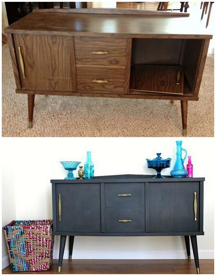antes y despues reciclar mueble pintura tiza | Mueble Tv | Pinterest ...