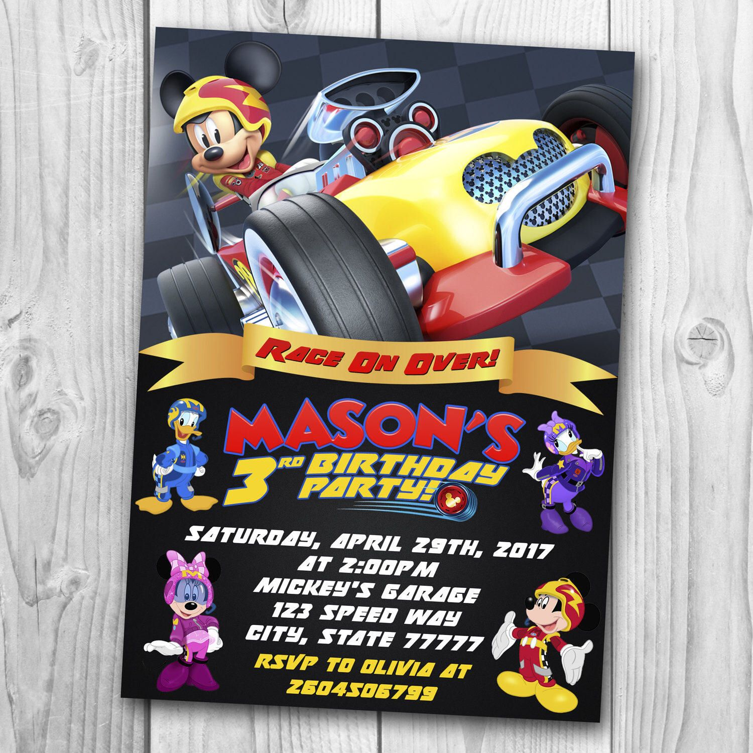 Digital File Mickey And The Roadster Racers Invitation Mick