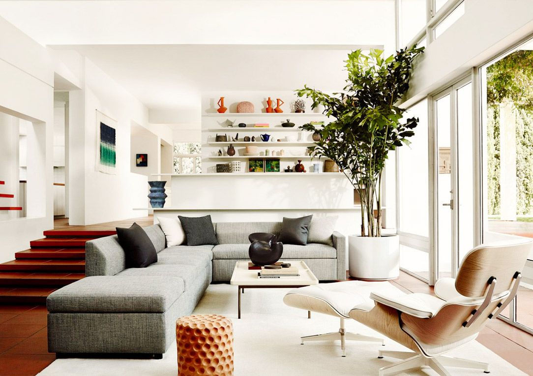 Neutral living room with eames lounge chair
