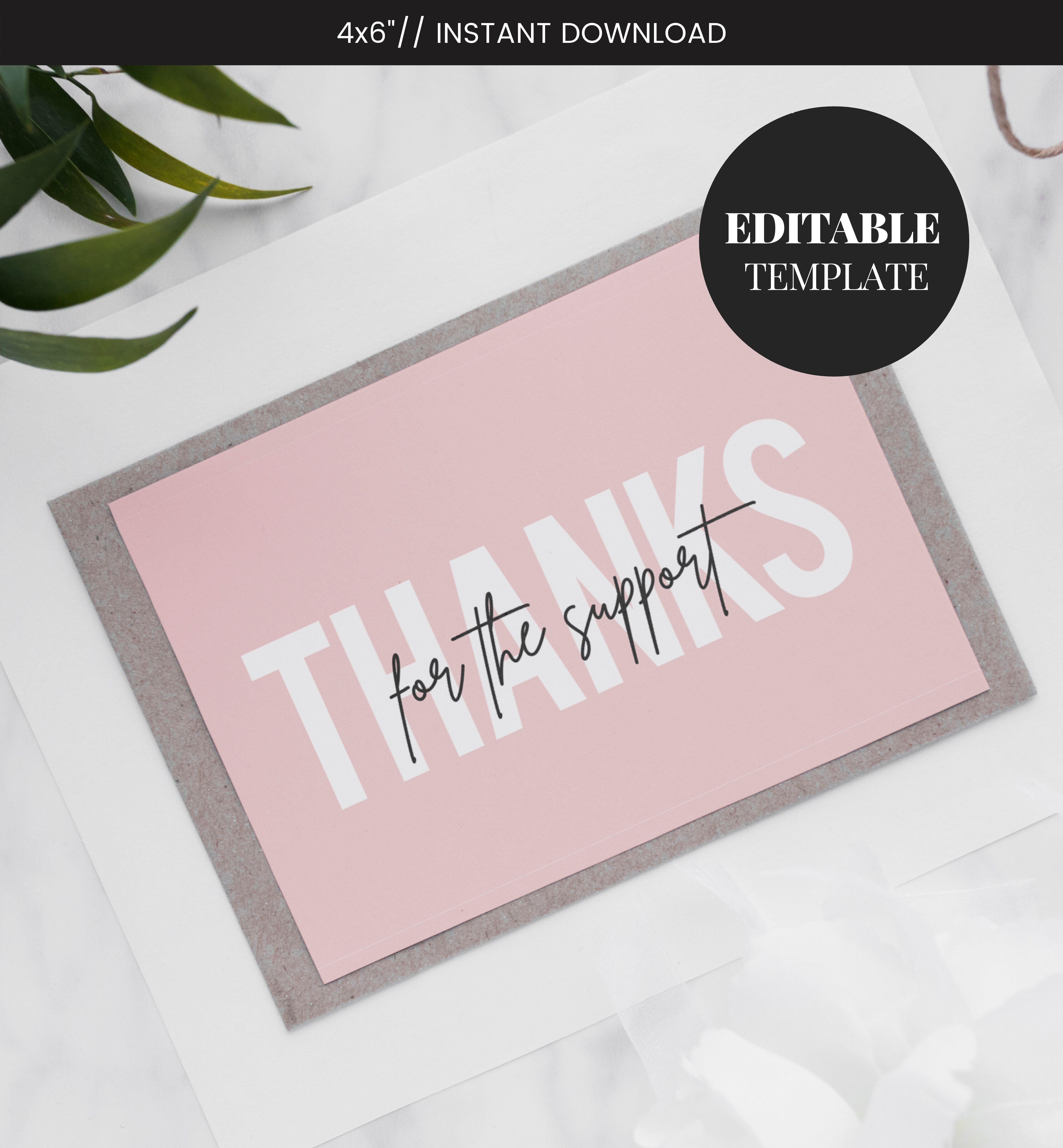 Editable Business Thank You Card Printable Blush Pink Thank You Thanks For Your Purchase Card Seller Thank You Customer Thank You Business Thank You Cards Thank You