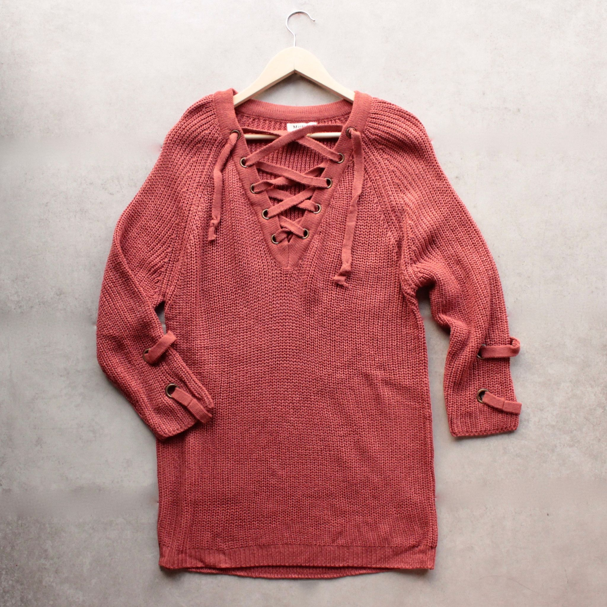 Lace up grommet sweater - marsala  1e98a1676