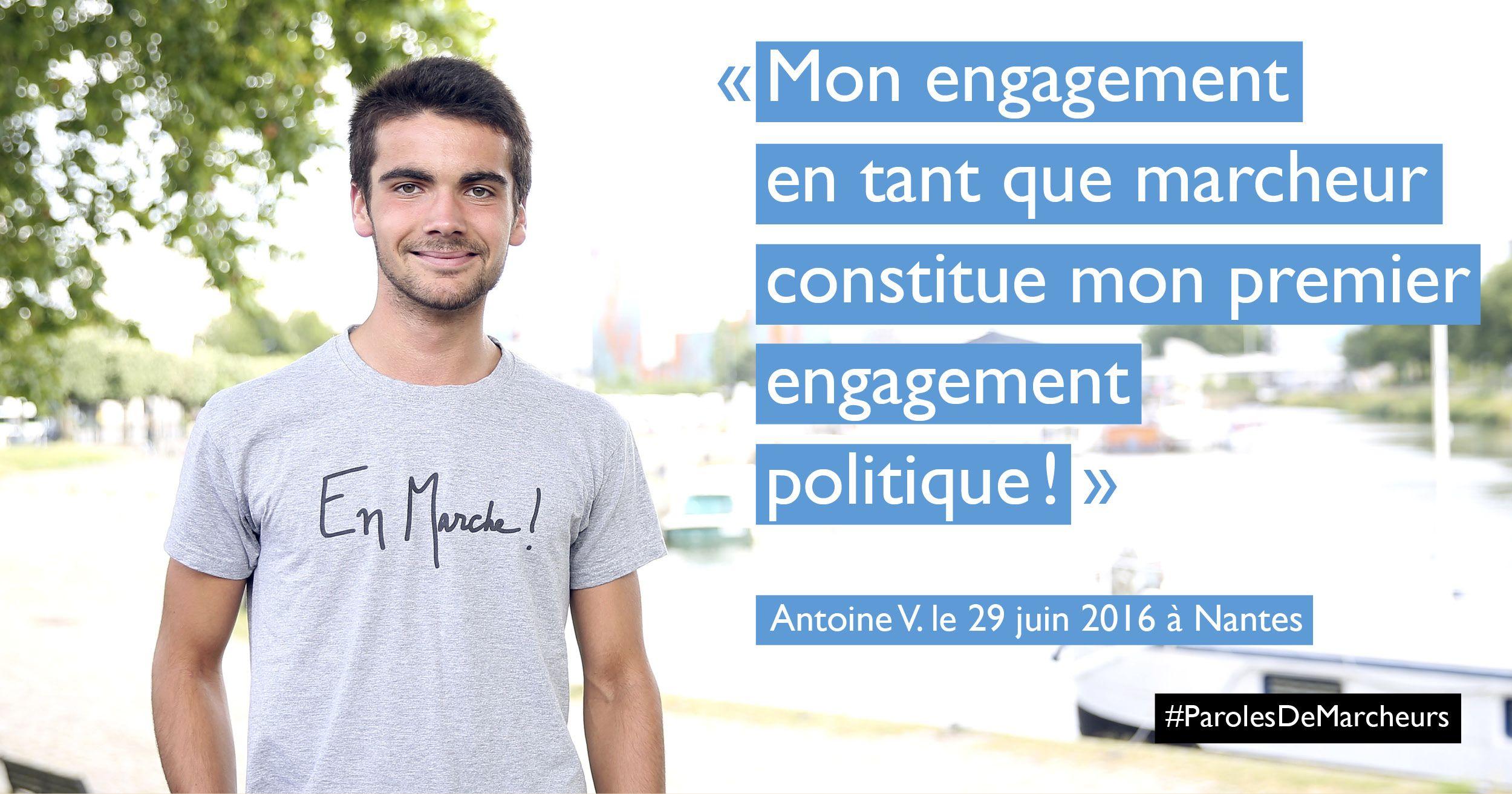 Bonjour, pouvez-vous vous présenter en une phrase? Je m'appelle Antoine, j'ai 17 ans, j'habite à Nantes et je viens de passer le bac scientifique. Pourquoi marchez-vous? Le mouvement étant tout nouveau, l'envie de le faire connaître et de promouvoir ses valeurs m'ont convaincu de marcher.De plus en pleine période de doute au sujet de notre …