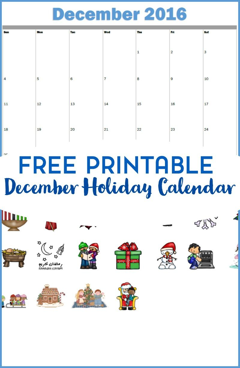 Free Printable Holiday And Activity Calendar For December 2019