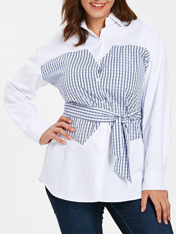 Tartan Panel Plus Size Shirt In 2019 Blouses Shirts Blouse