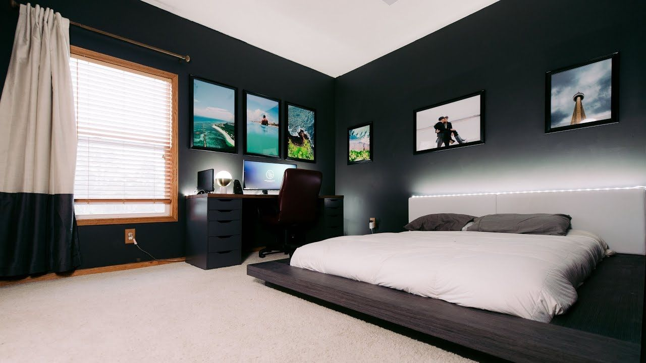 Modern Clean & Minimal Tech Bedroom Office Tour - YouTube ...