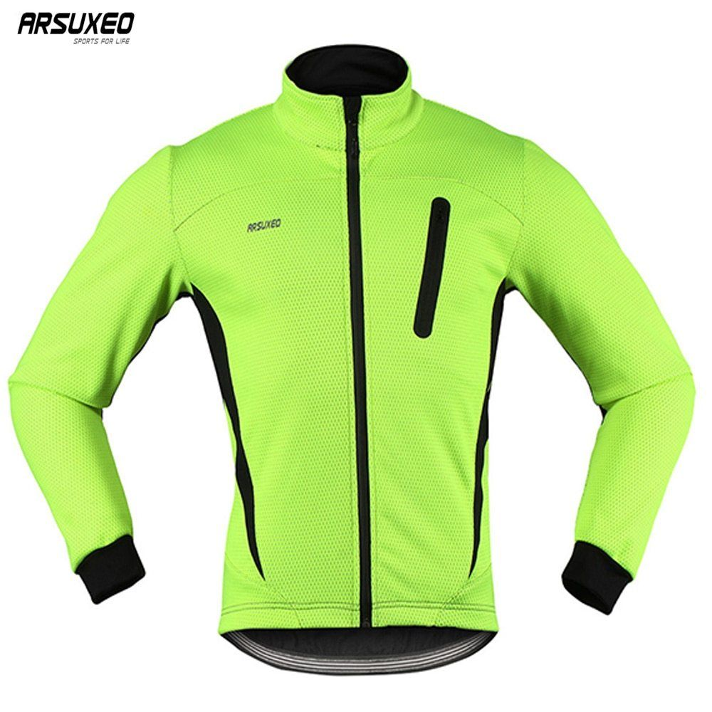 ARSUXEO Winter Warm Up Thermal Fleece Cycling Jacket Bike Clothing