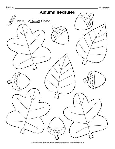 autumn treasures leaves and acorns tracing worksheets pinterest editorial magazine. Black Bedroom Furniture Sets. Home Design Ideas