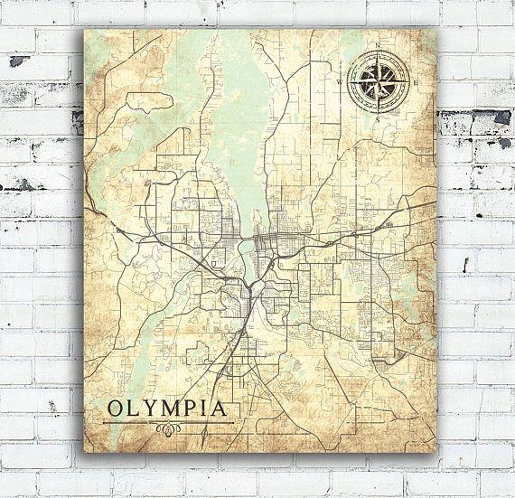 OLYMPIA WA Canvas Print Washington state Vintage map Olympia Wa City