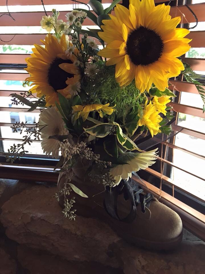 Military Floral Arrangement With Army Boot I Put This