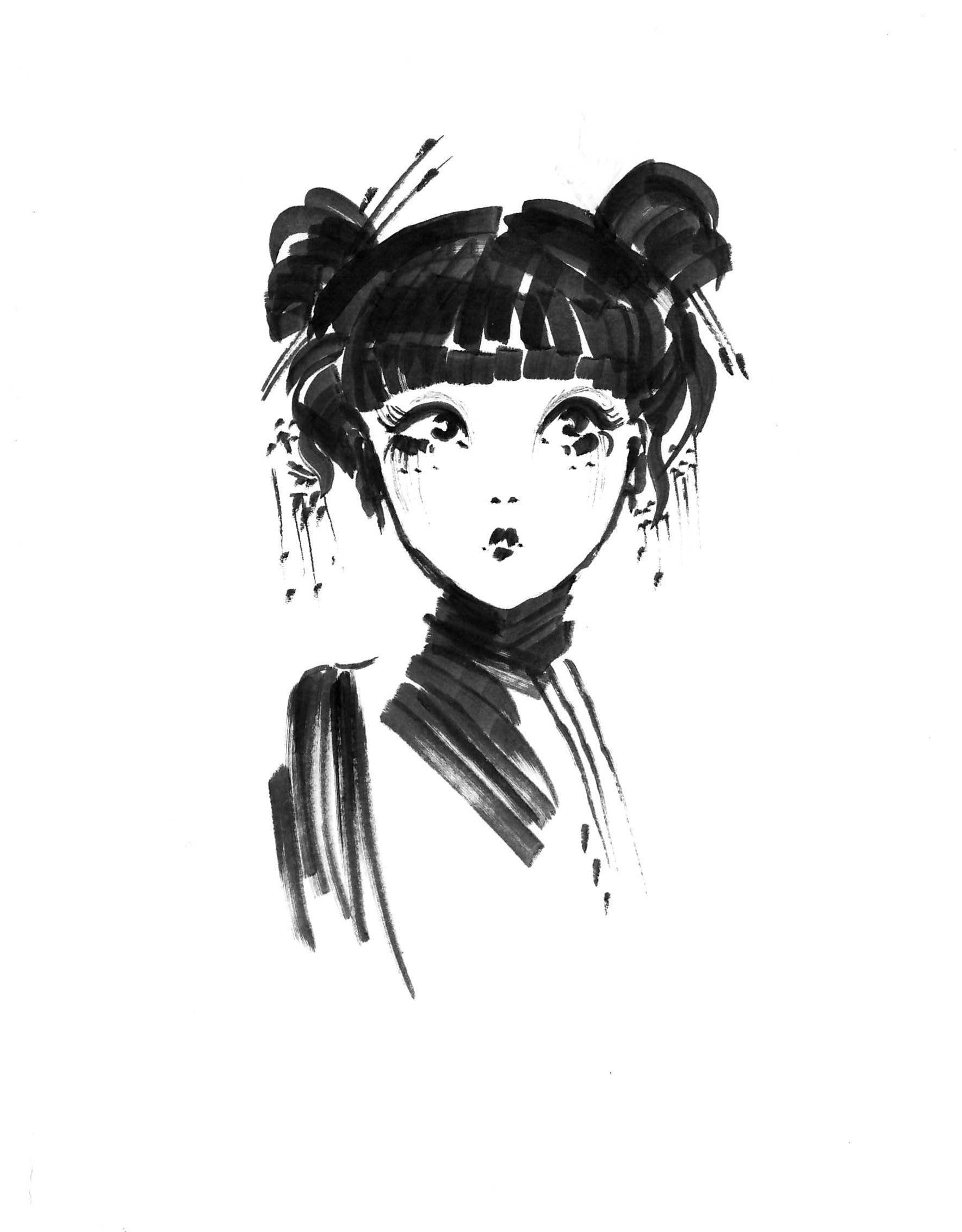 Fashion Illustration Draw Art Japanese Kimonogirl Faces Hairstyle Ink Sketch Japan Arty Art Japan Art Drawings