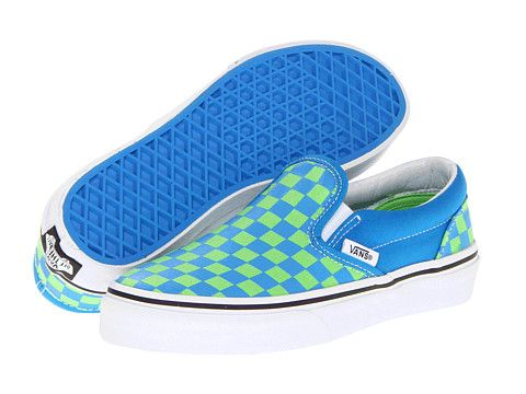 Vans Kids Classic Slip-On (Little Kid Big Kid)2 (Checkerboard) Chili Pepper Scuba  Blue - Zappos.com Free Shipping BOTH Ways 5258124d7