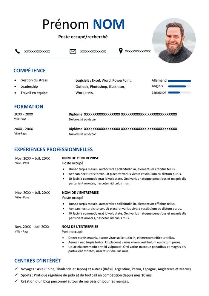 Exemple De Cv En Francais A Telecharger Gratuit Cv Word Cv Words Word Doc Resume Format Download