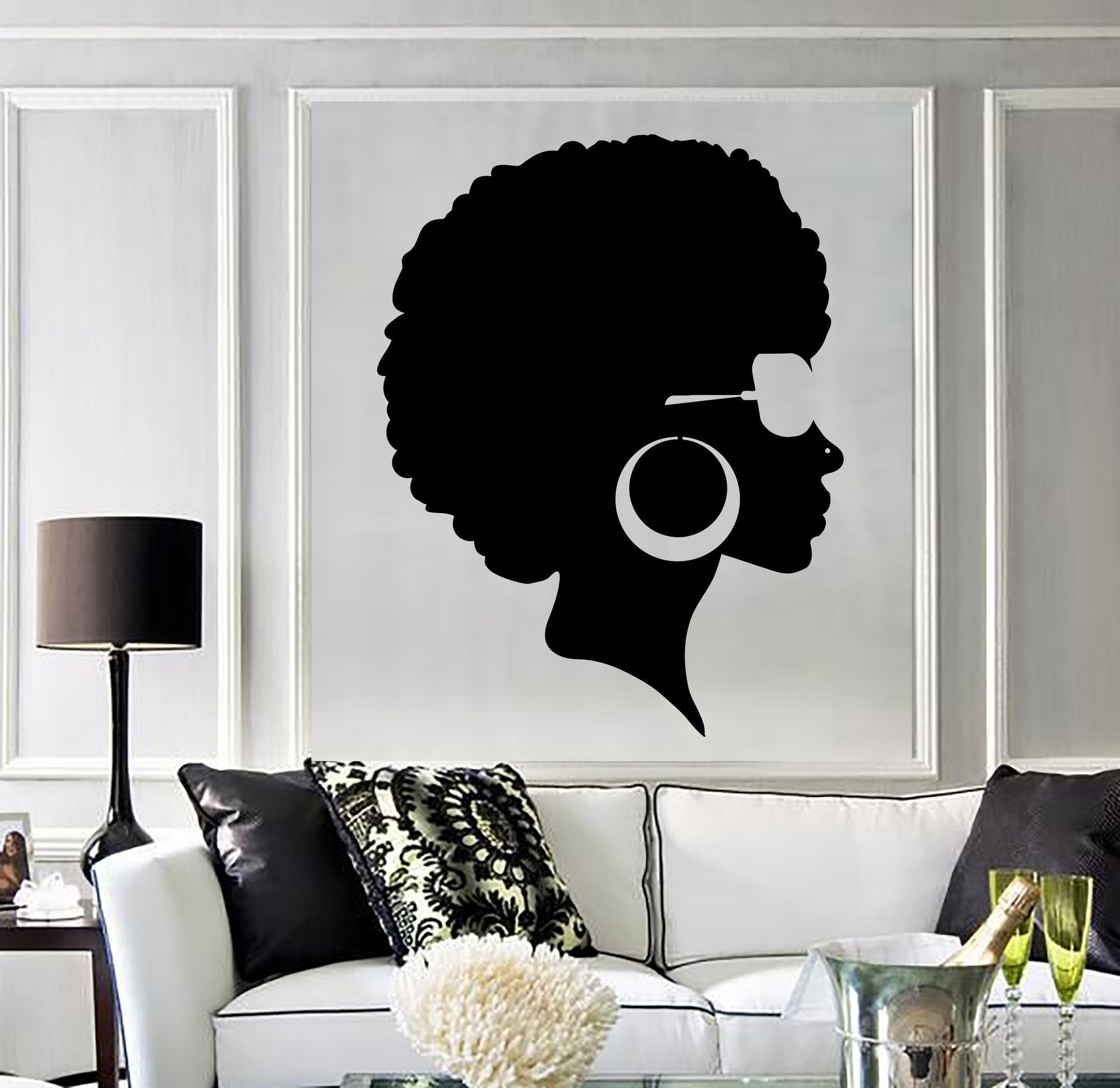 Couleur Africaine Pour Salon vinyl wall decal afro hairstyle black lady beauty salon