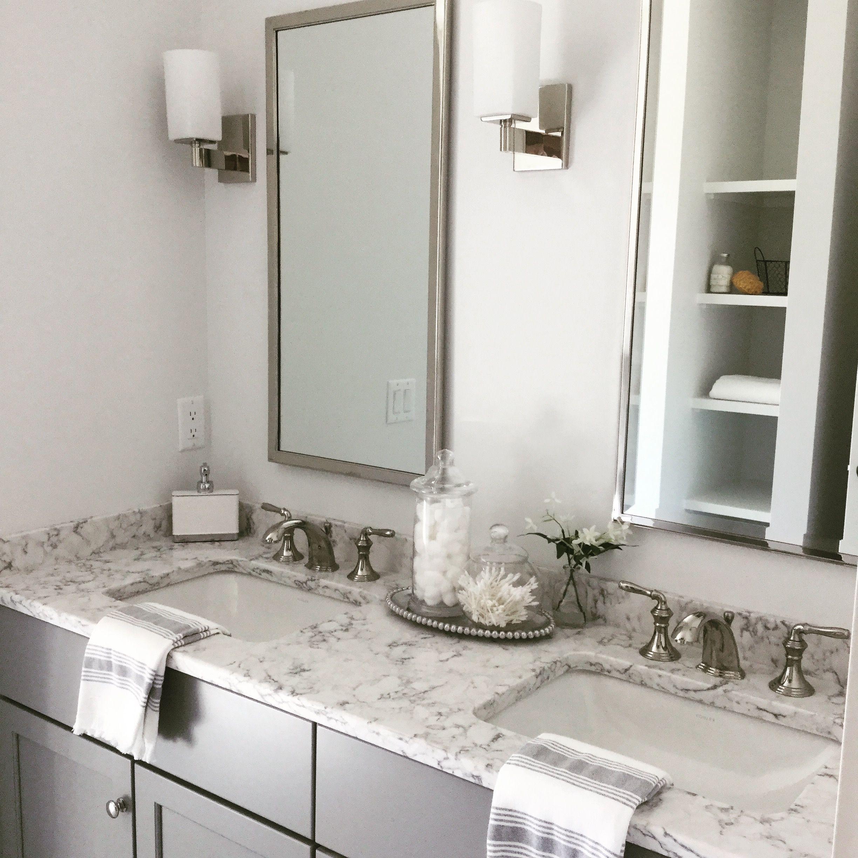 Viatera rococo quartz Small bathroom remodel, Quartz
