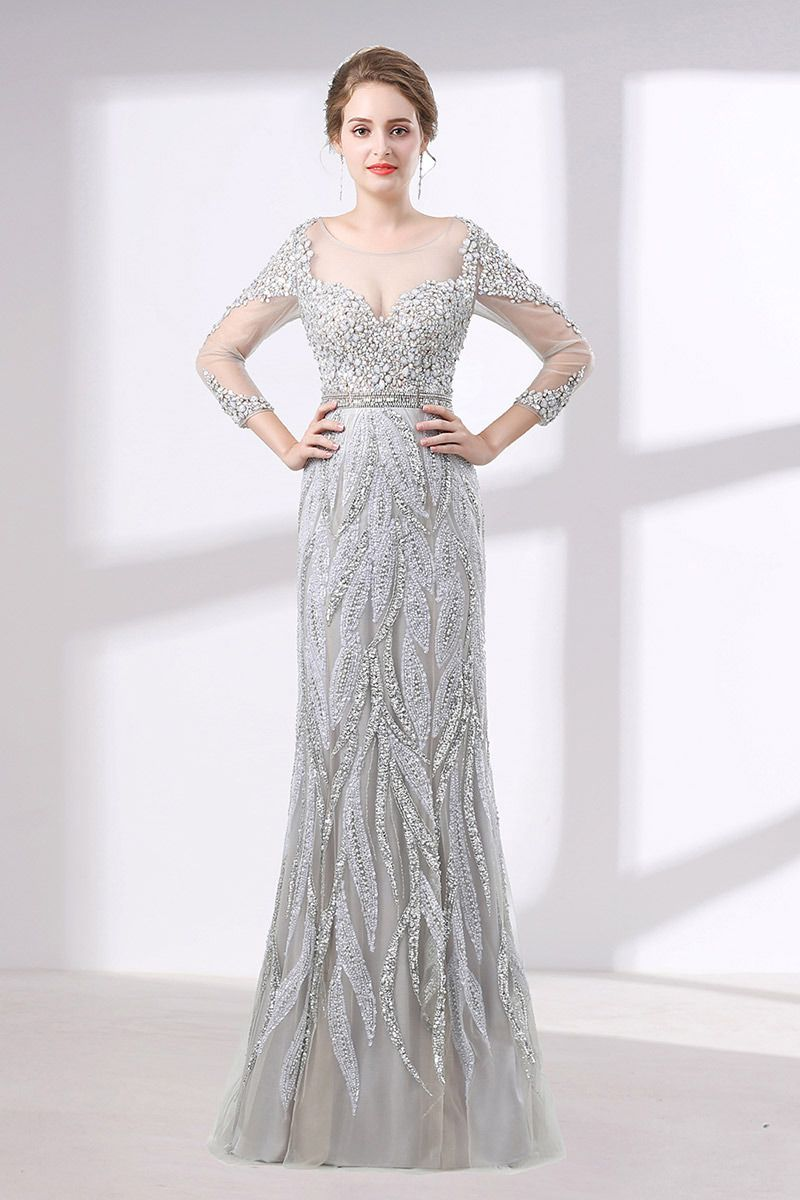 Gorgeous sparkly rhinestone prom dress fitted with sleeves
