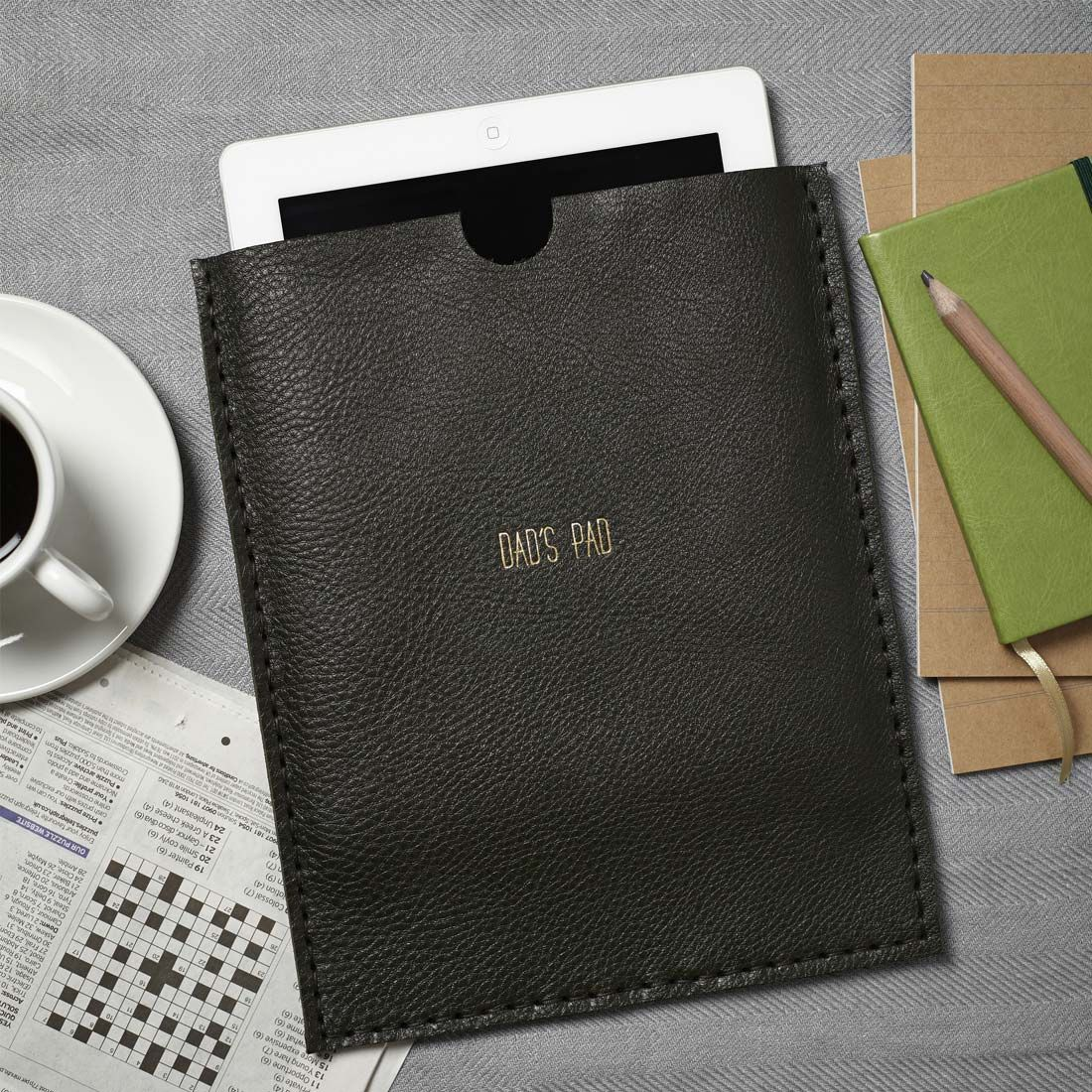A handmade leather iPad case that can be personalised for the perfect gift idea.
