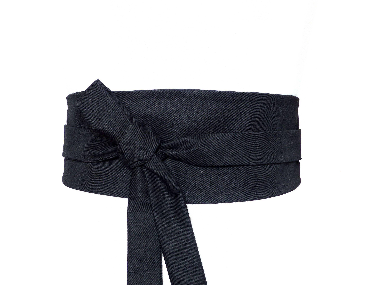 Coton Haute Couture Noir, Ceinture Reversible à nouer, style Obi - tissu,  gabardine de coton, casual, must-have de la boutique Polinacouture sur Etsy 4722029f347