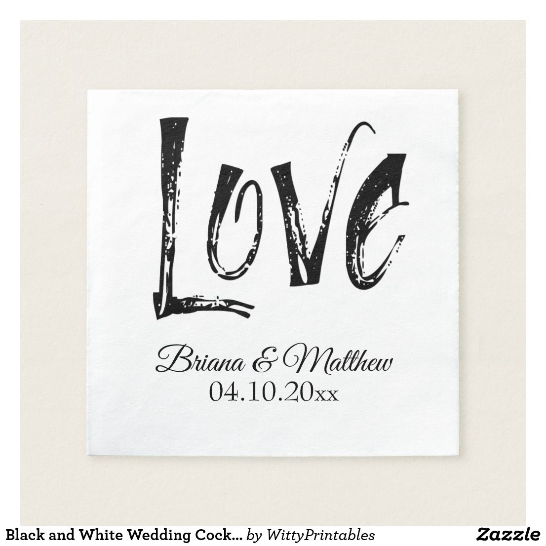 Black And White Wedding Cocktail Napkin Simple