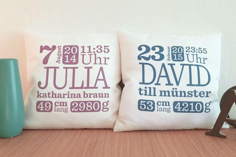 personalisiertes babykissen mit namen personalisiertes baby namenskissen und kissen. Black Bedroom Furniture Sets. Home Design Ideas