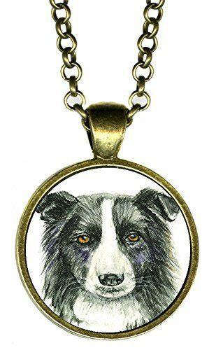 "Border Collie Dog 1"" Antique Bronze Gold Pendant"