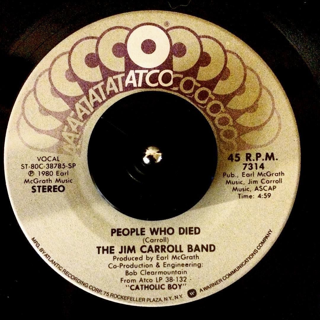 The Jim Carroll Band - People Who Died b/w I Want The Angel #vinyloftheday #vinyl #record #vinylcollection #AtcoRecords #JimCarroll #TheJimCarrollBand #nowspinning by mariosilva1977
