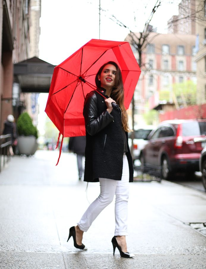 COLLIDE BOUTIQUE white jeans (c/o) ROMWE black shirt (c/o) SHEINSIDE black coat (c/o) FOREVER 21 shoes REBECCA MINKOFF bag COVERGIRL red lipstick (shade: 305 hot)