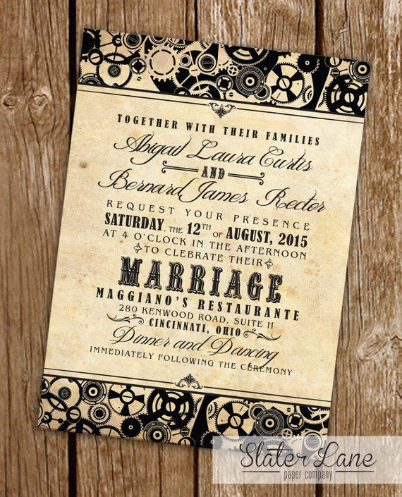 Printable Steampunk Wedding Invitations Steampunk Wedding Invitation Steampunk Wedding Steampunk Wedding Decorations