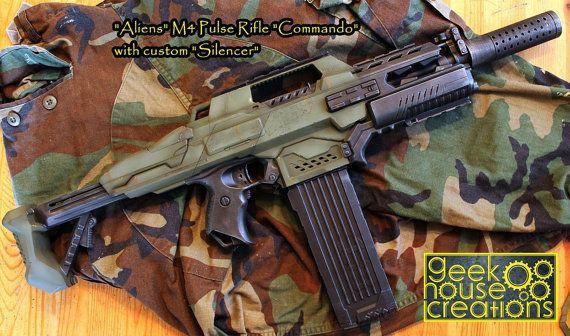Custom Painted Nerf Gun Aliens M4 Pulse by GeekHouseCreations | Geek House  Creations | Pinterest | Guns, Nerf rifle and Weapons
