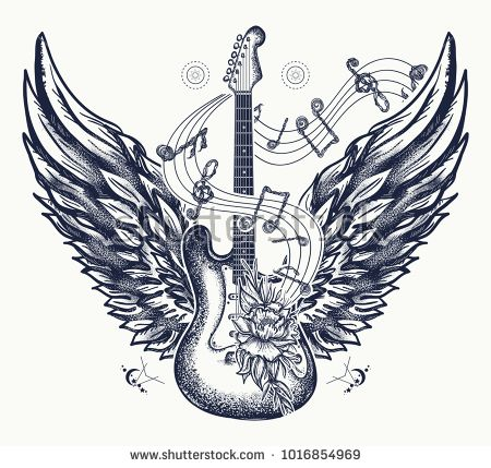 Guitar and wings tattoo. Electric guitar, roses, angel wings and music notes. Rock and roll t-shirt design. Symbol of rock music, musical festivals. Electric guitar tattoo art print #musicnotes