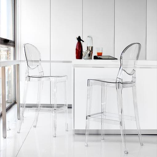 Taburete de cocina igloo de policarbonato transparente for Sillas y taburetes de cocina en ikea