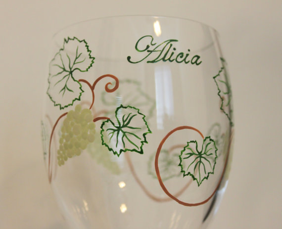 Wine Grapes Wine Glass, Glasses, Vines, Leaves, Vineyard, Winery, Barrel Tasting, Vintner, Wine Lover Gift, Bridesmaids, Wedding, Engagement, Bachelorette Party, Girl's Weekend, White, Green, Painted, Personalized, Monogrammed, Custom, Stemware, Glassware, Barware, by Flutterby Glass #CraftedwithPassion #flutterbyglass http://www.flutterbyglass.com