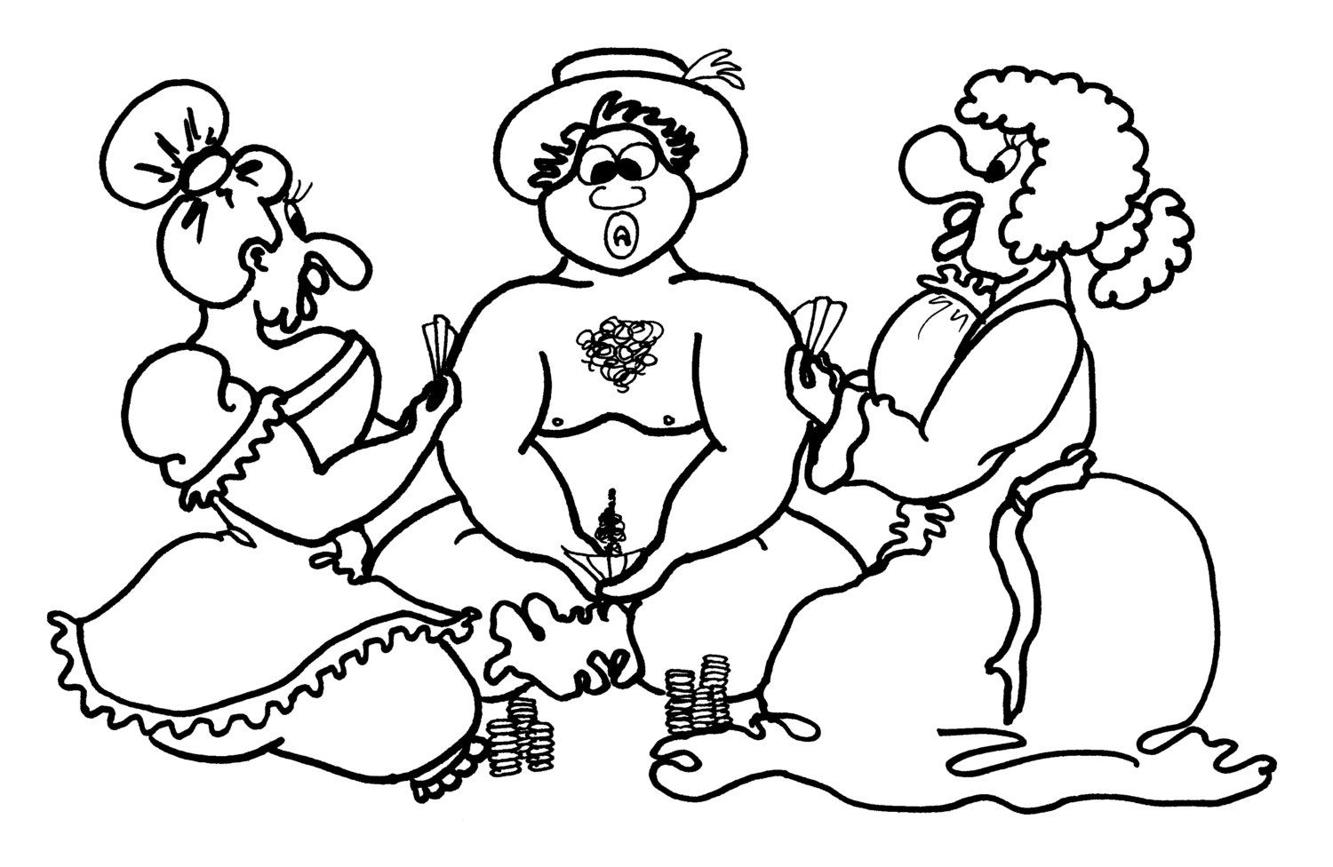 Strip Poker - Coloring Pages for Adults from the Chubby Art Cartoon ...