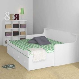 kinderbett inkl ausziehbett trixx wei ausziehbar 80x200cm lounge zone kinderzimmer. Black Bedroom Furniture Sets. Home Design Ideas