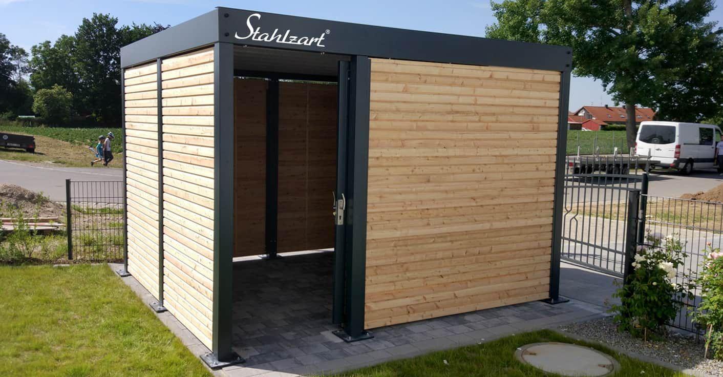 Geratehaus Holz Metall Anthrazit Flachdach Modern Stahlzart
